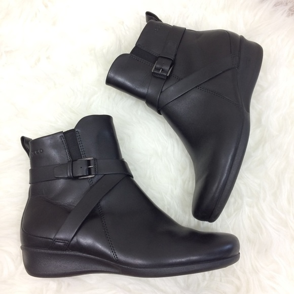 Felicia Black Leather Ankle Boots Size